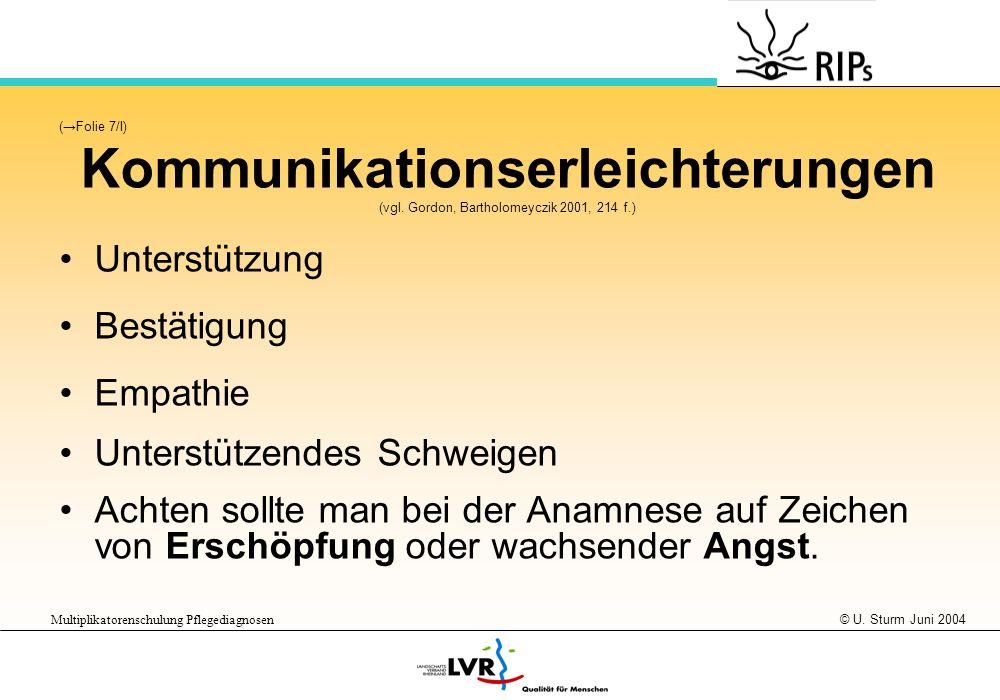 © U. Sturm Juni 2004 Multiplikatorenschulung Pflegediagnosen (Folie 7/I) Kommunikationserleichterungen (vgl. Gordon, Bartholomeyczik 2001, 214 f.) Unt
