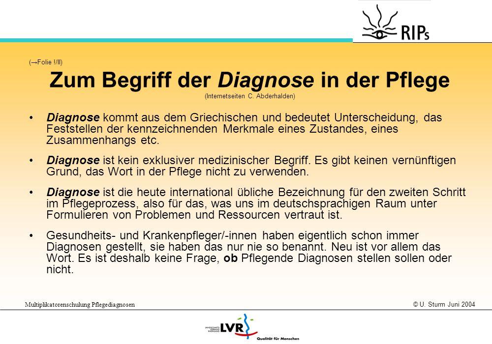 © U. Sturm Juni 2004 Multiplikatorenschulung Pflegediagnosen (Folie !/II) Zum Begriff der Diagnose in der Pflege (Internetseiten C. Abderhalden) Diagn