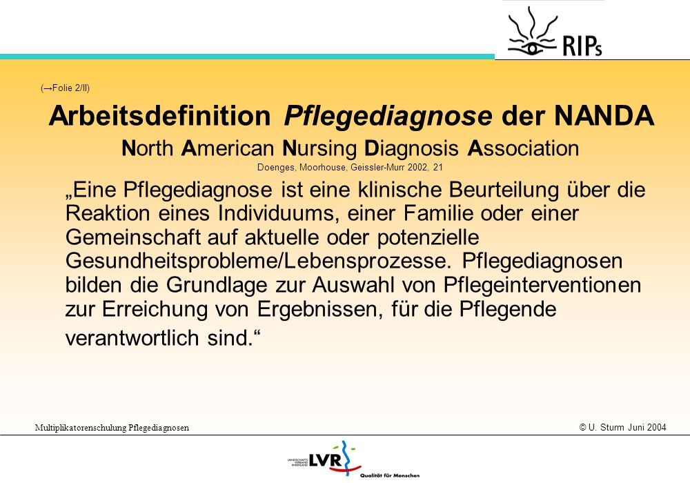 © U. Sturm Juni 2004 Multiplikatorenschulung Pflegediagnosen (Folie 2/II) Arbeitsdefinition Pflegediagnose der NANDA North American Nursing Diagnosis