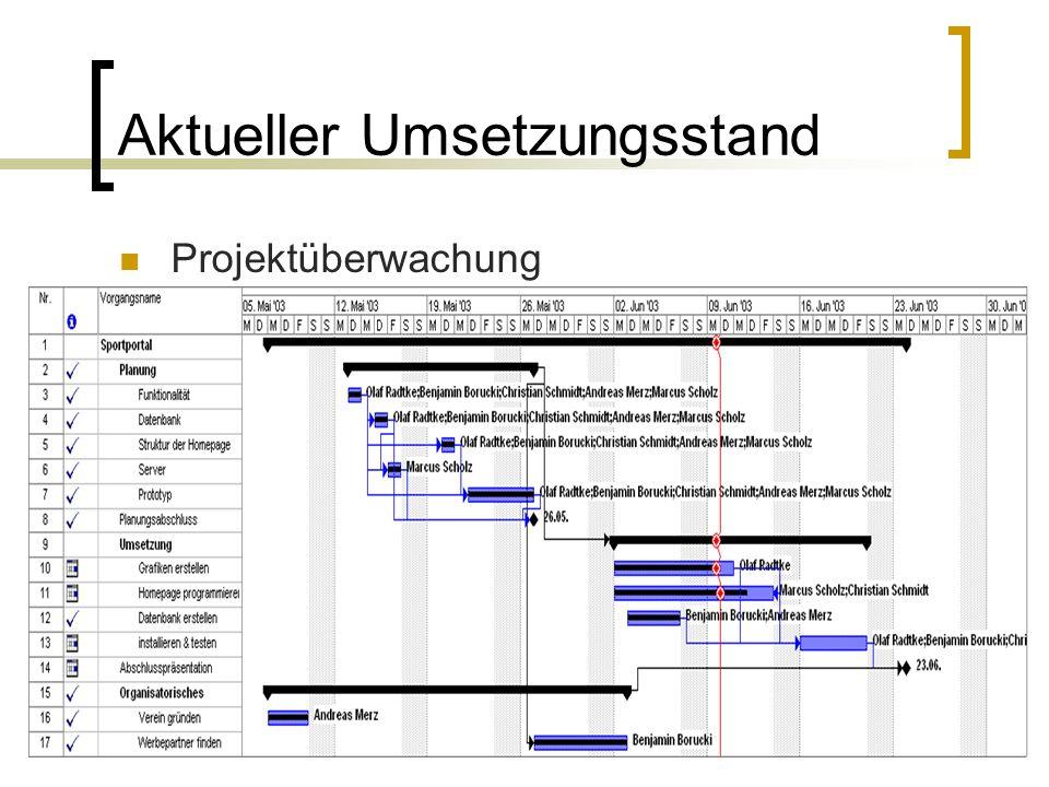 Aktueller Umsetzungsstand Projektüberwachung