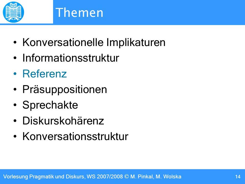 Vorlesung Pragmatik und Diskurs, WS 2007/2008 © M. Pinkal, M. Wolska 14 Themen Konversationelle Implikaturen Informationsstruktur Referenz Präsupposit