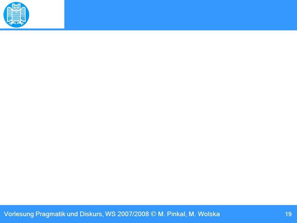 Vorlesung Pragmatik und Diskurs, WS 2007/2008 © M. Pinkal, M. Wolska 19
