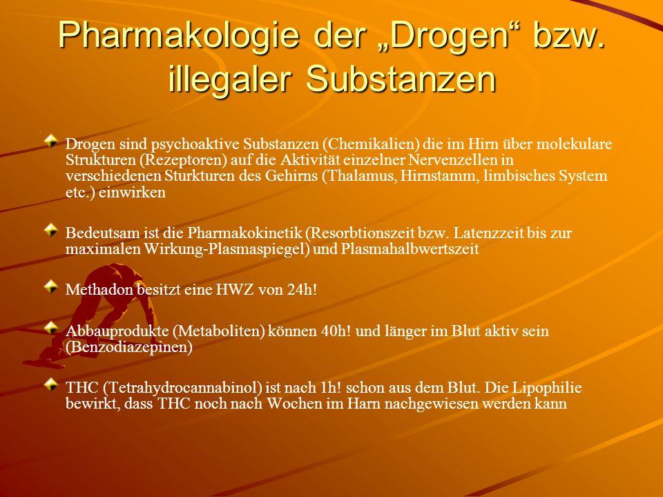 Pharmakologie der Drogen bzw. illegaler Substanzen Drogen sind psychoaktive Substanzen (Chemikalien) die im Hirn über molekulare Strukturen (Rezeptore