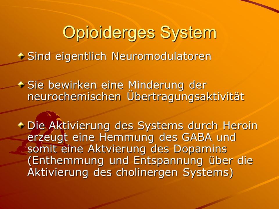 Opioiderges System Sind eigentlich Neuromodulatoren Sie bewirken eine Minderung der neurochemischen Übertragungsaktivität Die Aktivierung des Systems