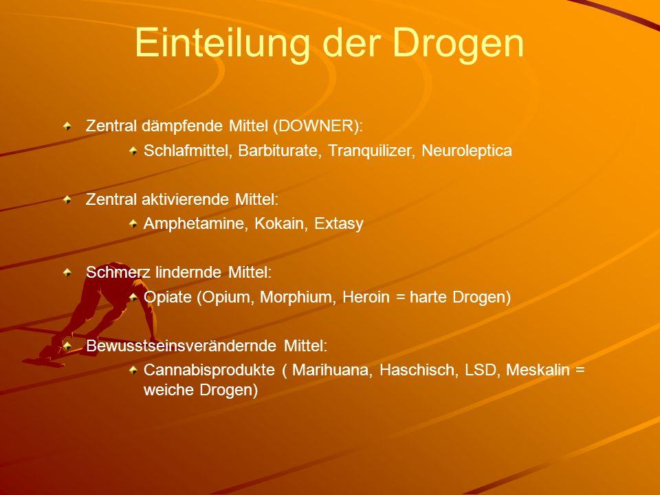 Einteilung der Drogen Zentral dämpfende Mittel (DOWNER): Schlafmittel, Barbiturate, Tranquilizer, Neuroleptica Zentral aktivierende Mittel: Amphetamin