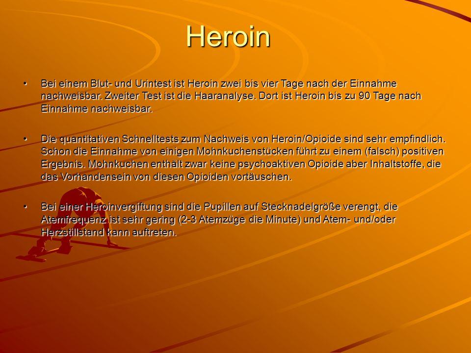 Heroin Bei einem Blut- und Urintest ist Heroin zwei bis vier Tage nach der Einnahme nachweisbar. Zweiter Test ist die Haaranalyse. Dort ist Heroin bis