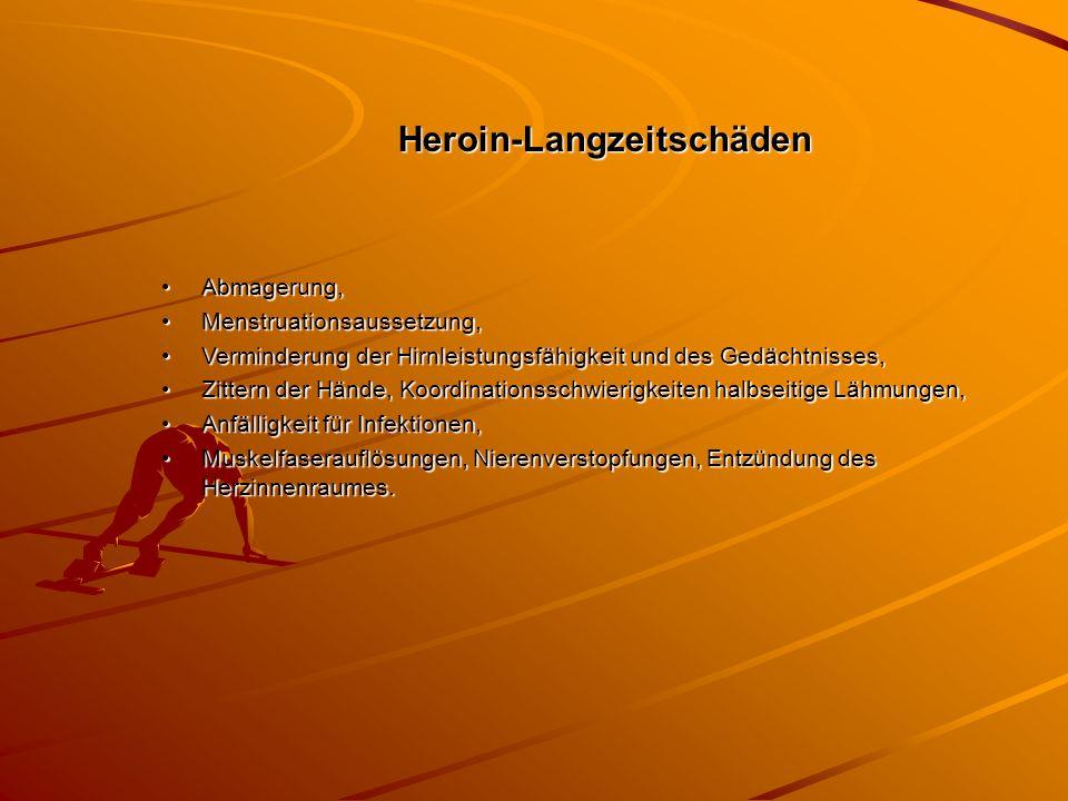 Heroin-Langzeitschäden Abmagerung,Abmagerung, Menstruationsaussetzung,Menstruationsaussetzung, Verminderung der Hirnleistungsfähigkeit und des Gedächt