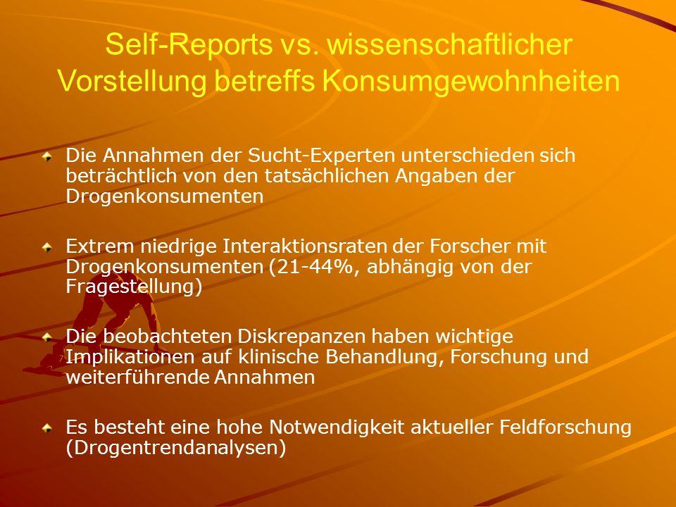 Self-Reports vs. wissenschaftlicher Vorstellung betreffs Konsumgewohnheiten Die Annahmen der Sucht-Experten unterschieden sich beträchtlich von den ta