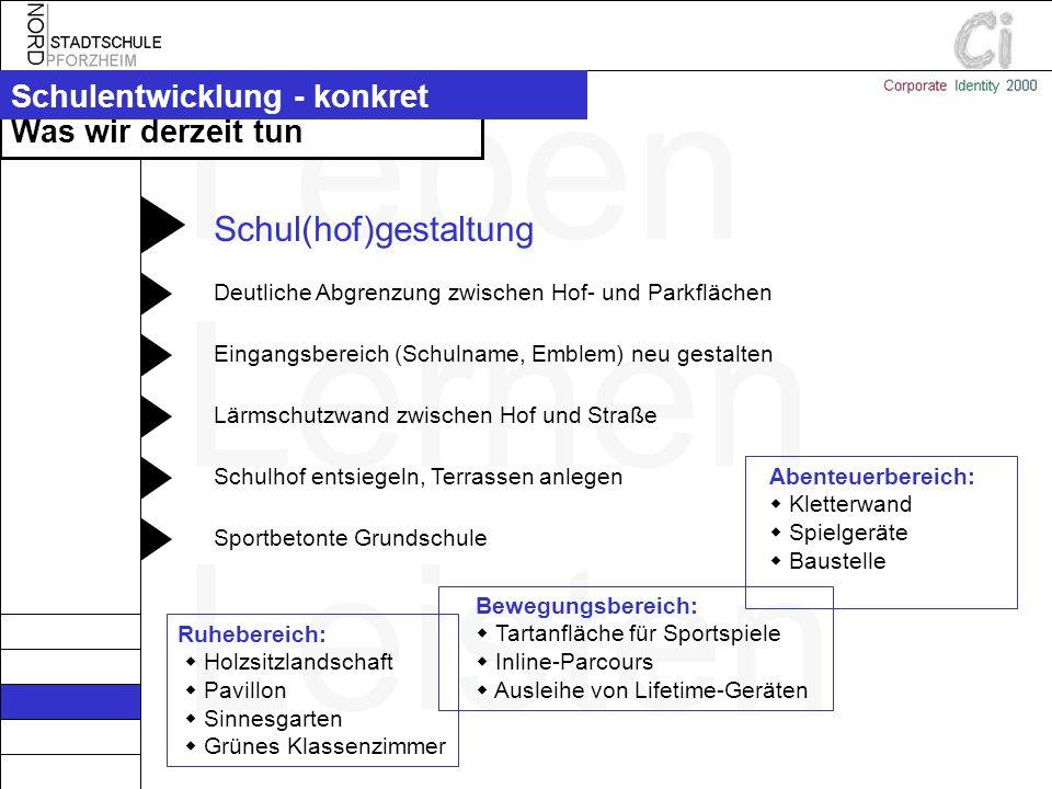 Schulhof entsiegeln, Terrassen anlegenLärmschutzwand zwischen Hof und StraßeEingangsbereich (Schulname, Emblem) neu gestaltenDeutliche Abgrenzung zwis