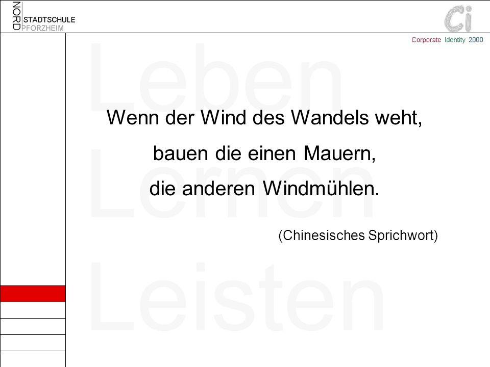 Wenn der Wind des Wandels weht, bauen die einen Mauern, die anderen Windmühlen. (Chinesisches Sprichwort)
