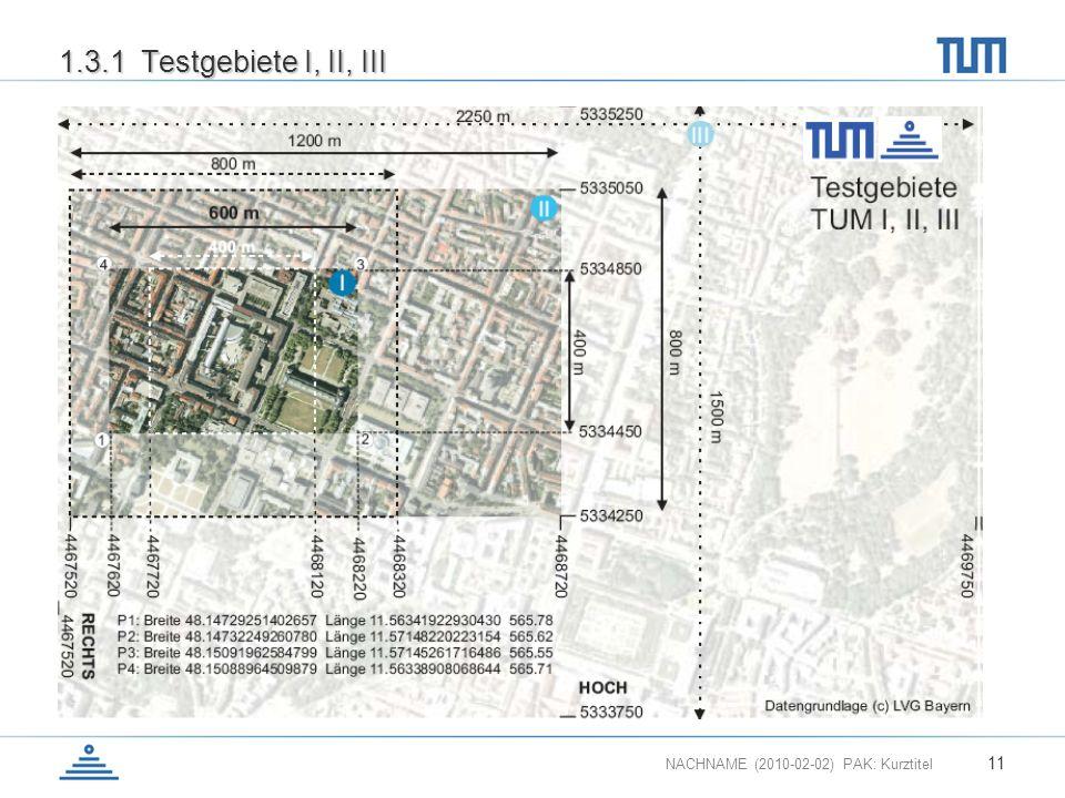 NACHNAME (2010-02-02) PAK: Kurztitel 11 1.3.1 Testgebiete I, II, III
