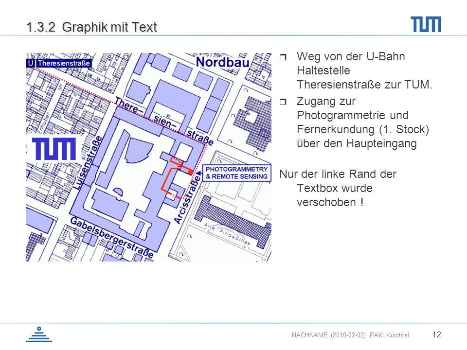 NACHNAME (2010-02-02) PAK: Kurztitel 12 1.3.2 Graphik mit Text Weg von der U-Bahn Haltestelle Theresienstraße zur TUM. Zugang zur Photogrammetrie und