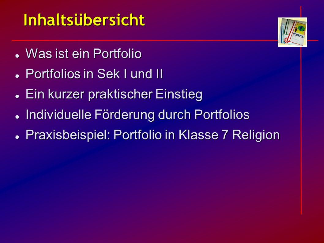 Inhaltsübersicht Was ist ein Portfolio Was ist ein Portfolio Portfolios in Sek I und II Portfolios in Sek I und II Ein kurzer praktischer Einstieg Ein
