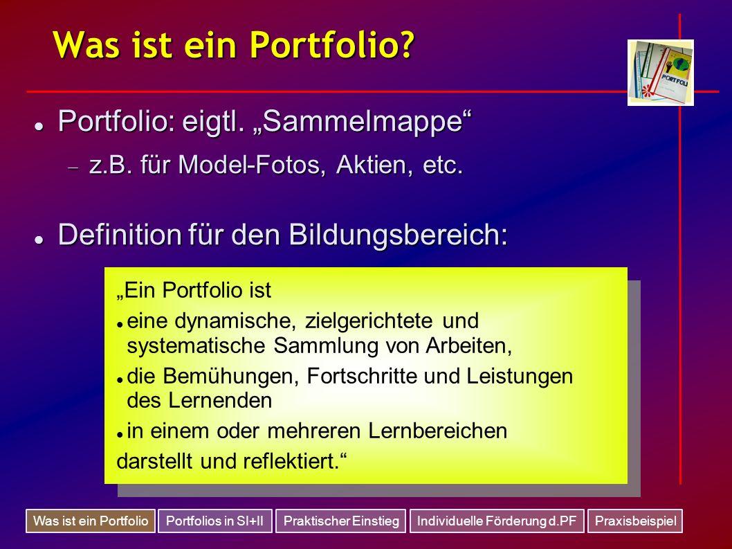 Was ist ein Portfolio? Portfolio: eigtl. Sammelmappe Portfolio: eigtl. Sammelmappe z.B. für Model-Fotos, Aktien, etc. z.B. für Model-Fotos, Aktien, et