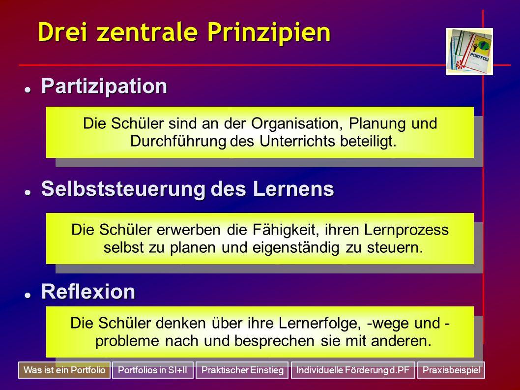 Drei zentrale Prinzipien Partizipation Partizipation Selbststeuerung des Lernens Selbststeuerung des Lernens Reflexion Reflexion Die Schüler sind an d