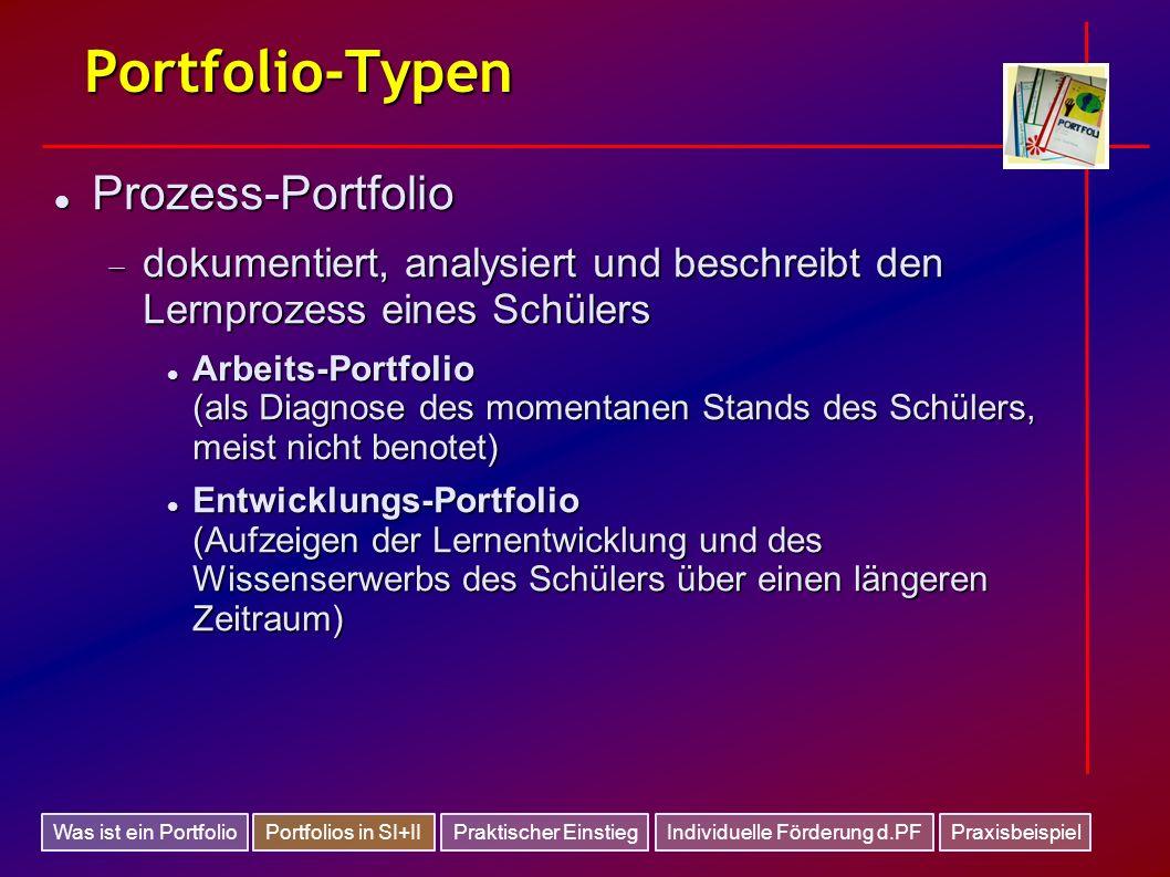 Portfolio-Typen Prozess-Portfolio Prozess-Portfolio dokumentiert, analysiert und beschreibt den Lernprozess eines Schülers dokumentiert, analysiert un