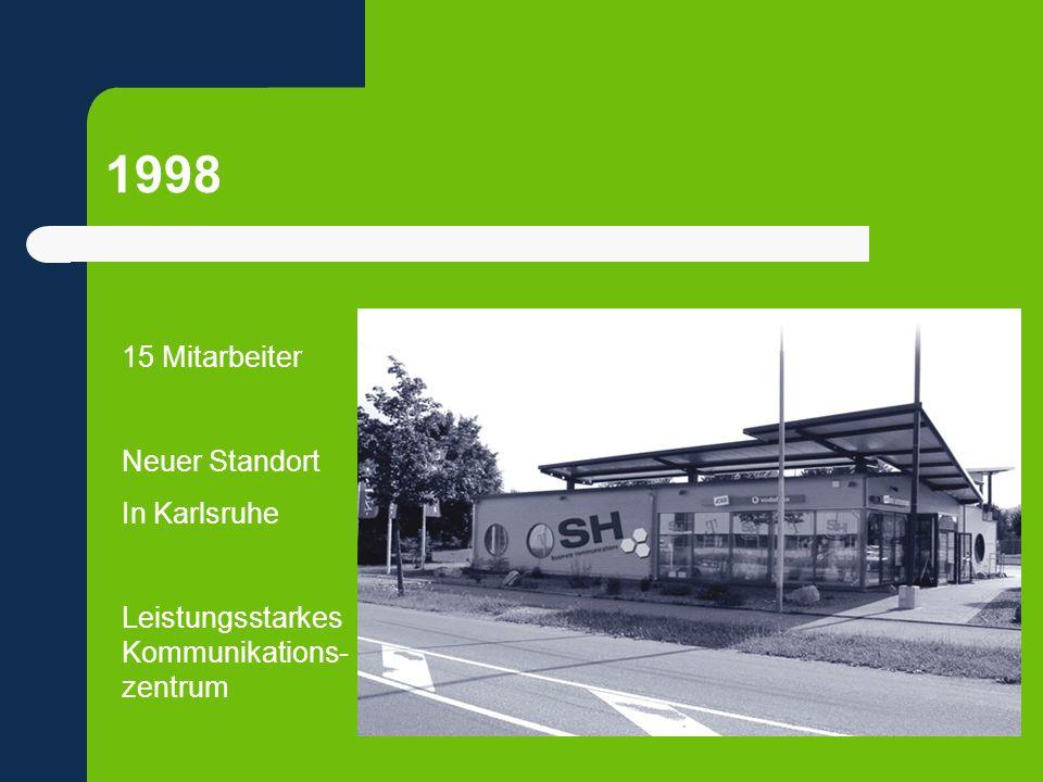 1998 15 Mitarbeiter Neuer Standort In Karlsruhe Leistungsstarkes Kommunikations- zentrum