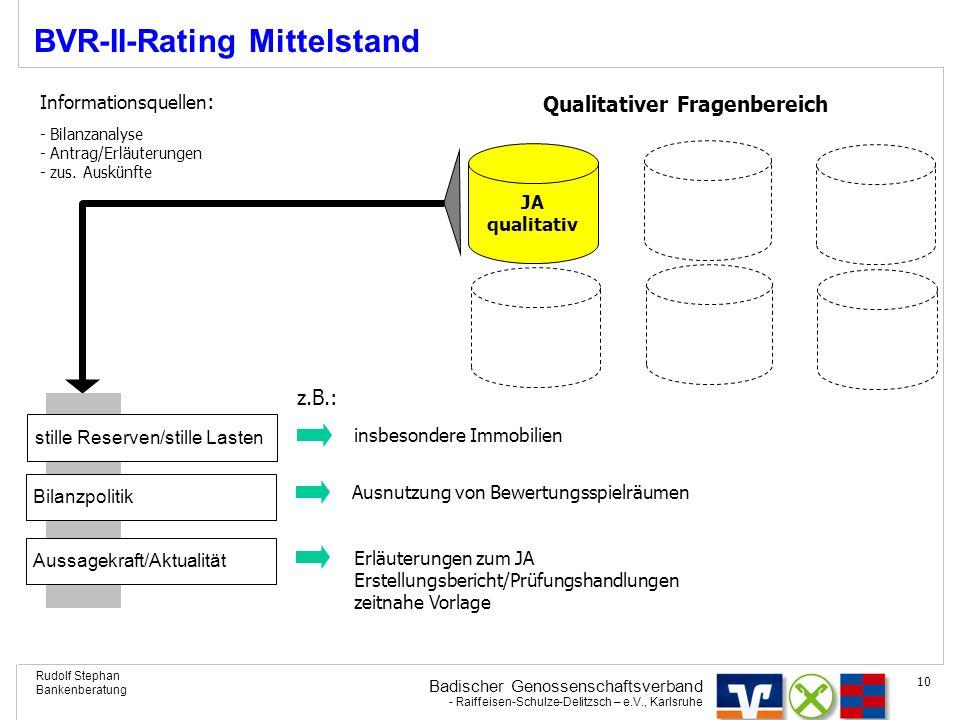 Badischer Genossenschaftsverband - Raiffeisen-Schulze-Delitzsch – e.V., Karlsruhe Rudolf Stephan Bankenberatung 10 BVR-II-Rating Mittelstand JA qualit