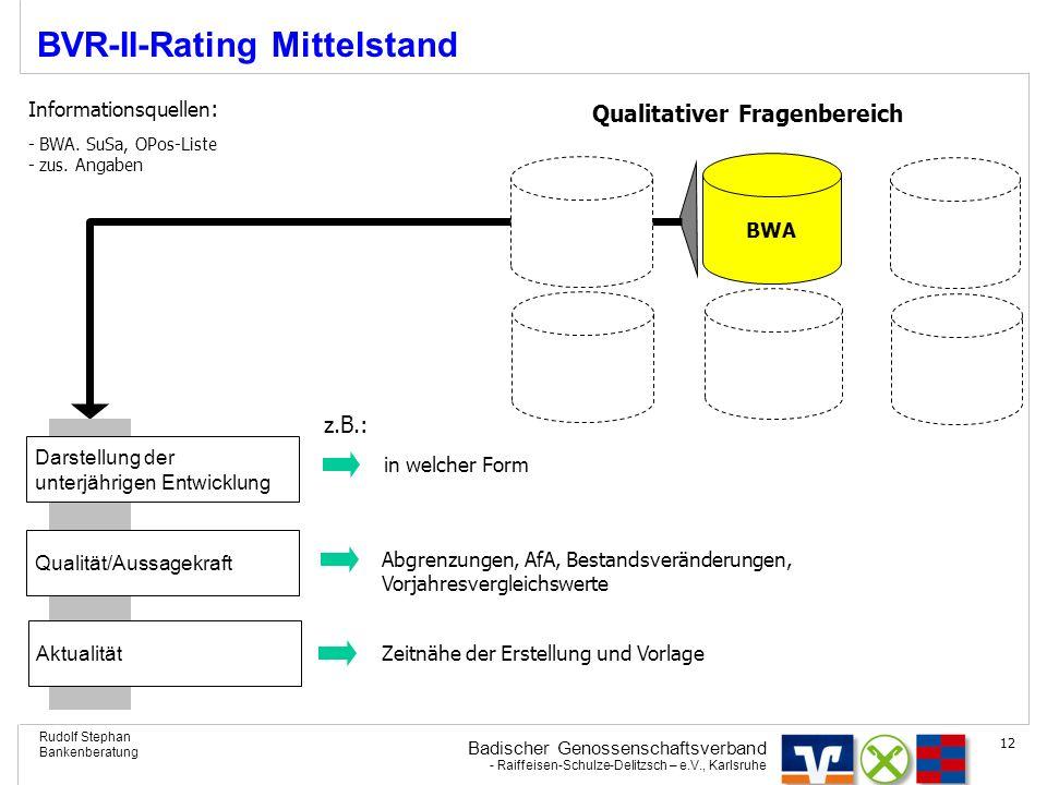 Badischer Genossenschaftsverband - Raiffeisen-Schulze-Delitzsch – e.V., Karlsruhe Rudolf Stephan Bankenberatung 12 BVR-II-Rating Mittelstand BWA Quali