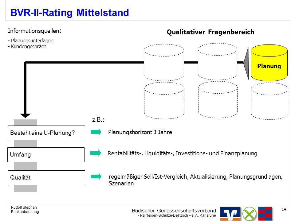Badischer Genossenschaftsverband - Raiffeisen-Schulze-Delitzsch – e.V., Karlsruhe Rudolf Stephan Bankenberatung 14 BVR-II-Rating Mittelstand Planung Q