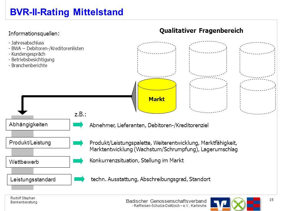 Badischer Genossenschaftsverband - Raiffeisen-Schulze-Delitzsch – e.V., Karlsruhe Rudolf Stephan Bankenberatung 15 BVR-II-Rating Mittelstand Produkt/L