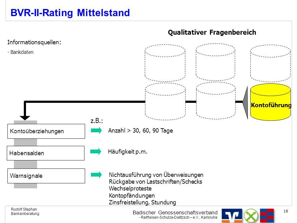 Badischer Genossenschaftsverband - Raiffeisen-Schulze-Delitzsch – e.V., Karlsruhe Rudolf Stephan Bankenberatung 18 BVR-II-Rating Mittelstand Kontoführ