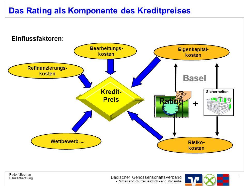 Badischer Genossenschaftsverband - Raiffeisen-Schulze-Delitzsch – e.V., Karlsruhe Rudolf Stephan Bankenberatung 5 Eigenkapital- kosten Wettbewerb....