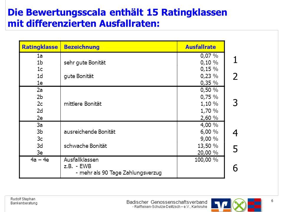 Badischer Genossenschaftsverband - Raiffeisen-Schulze-Delitzsch – e.V., Karlsruhe Rudolf Stephan Bankenberatung 6 Die Bewertungsscala enthält 15 Ratin