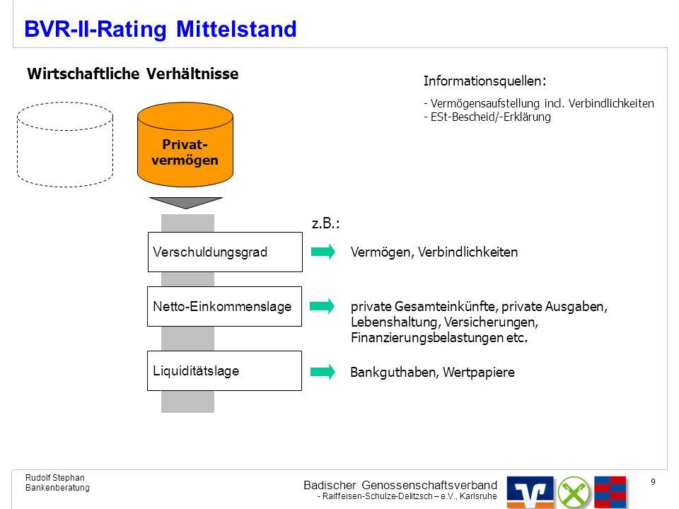 Badischer Genossenschaftsverband - Raiffeisen-Schulze-Delitzsch – e.V., Karlsruhe Rudolf Stephan Bankenberatung 9 BVR-II-Rating Mittelstand Wirtschaft