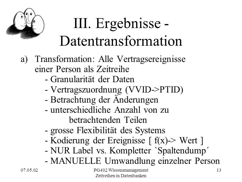 07.05.02PG402 Wissensmanagement Zeitreihen in Datenbanken 13 III.