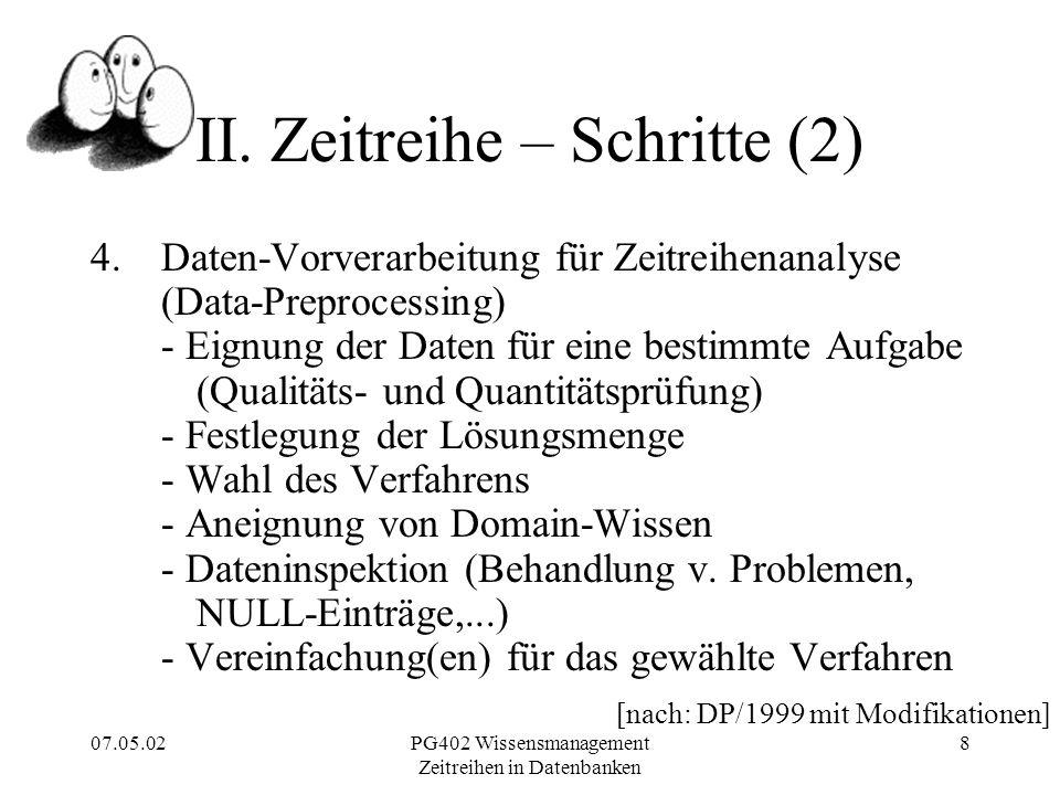 07.05.02PG402 Wissensmanagement Zeitreihen in Datenbanken 8 II.