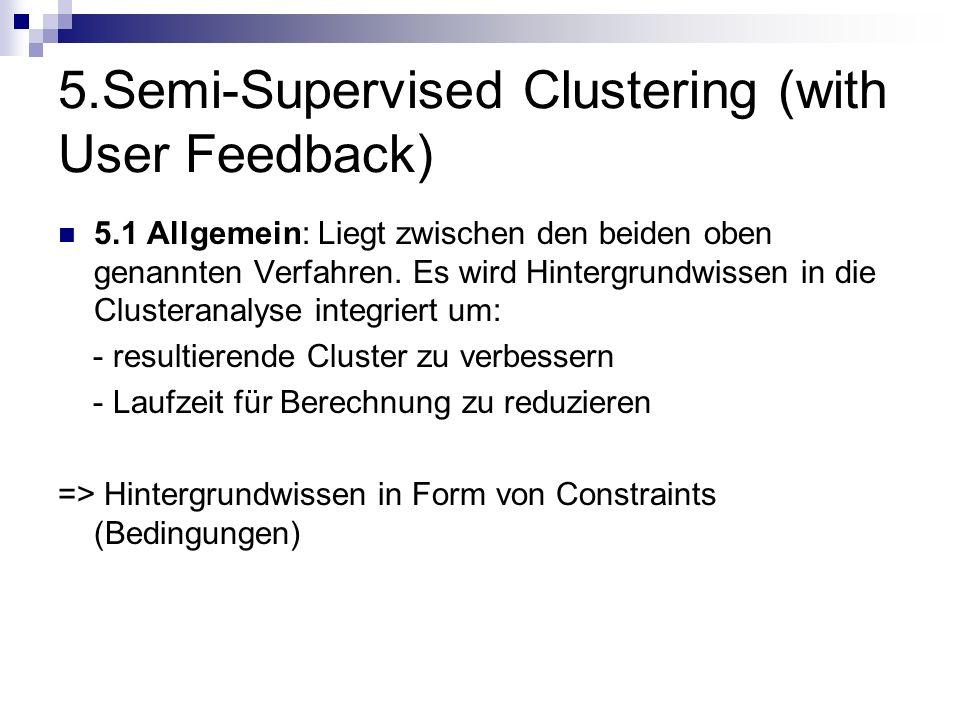 5.Semi-Supervised Clustering (with User Feedback) 5.1 Allgemein: Liegt zwischen den beiden oben genannten Verfahren. Es wird Hintergrundwissen in die