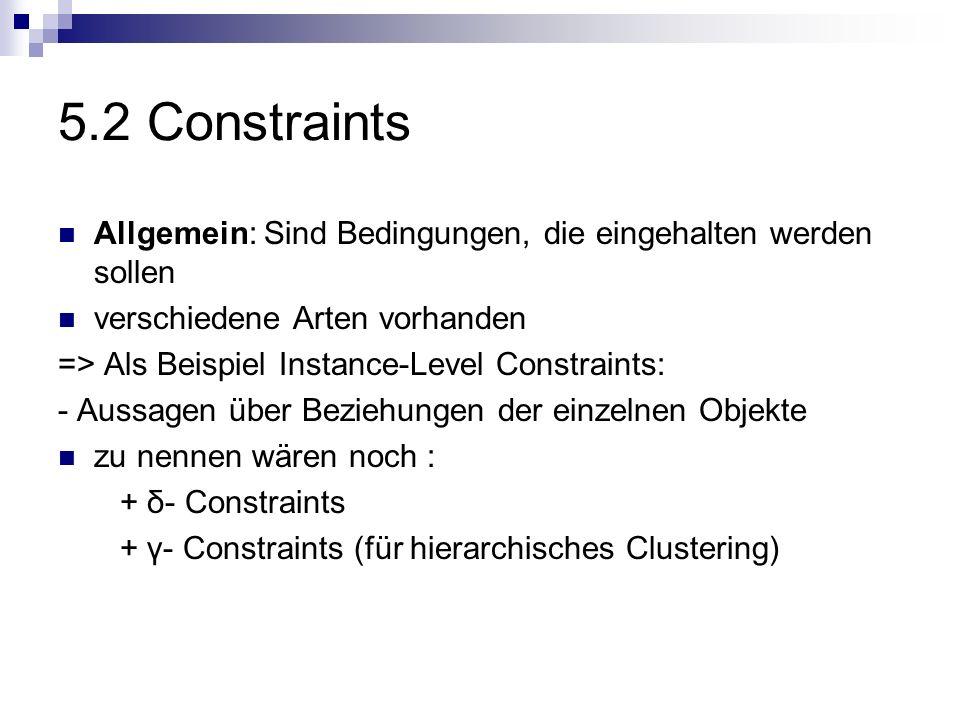 5.2 Constraints Allgemein: Sind Bedingungen, die eingehalten werden sollen verschiedene Arten vorhanden => Als Beispiel Instance-Level Constraints: -