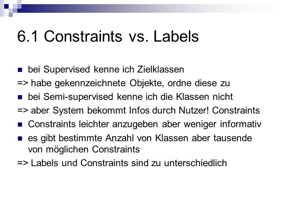 6.1 Constraints vs. Labels bei Supervised kenne ich Zielklassen => habe gekennzeichnete Objekte, ordne diese zu bei Semi-supervised kenne ich die Klas