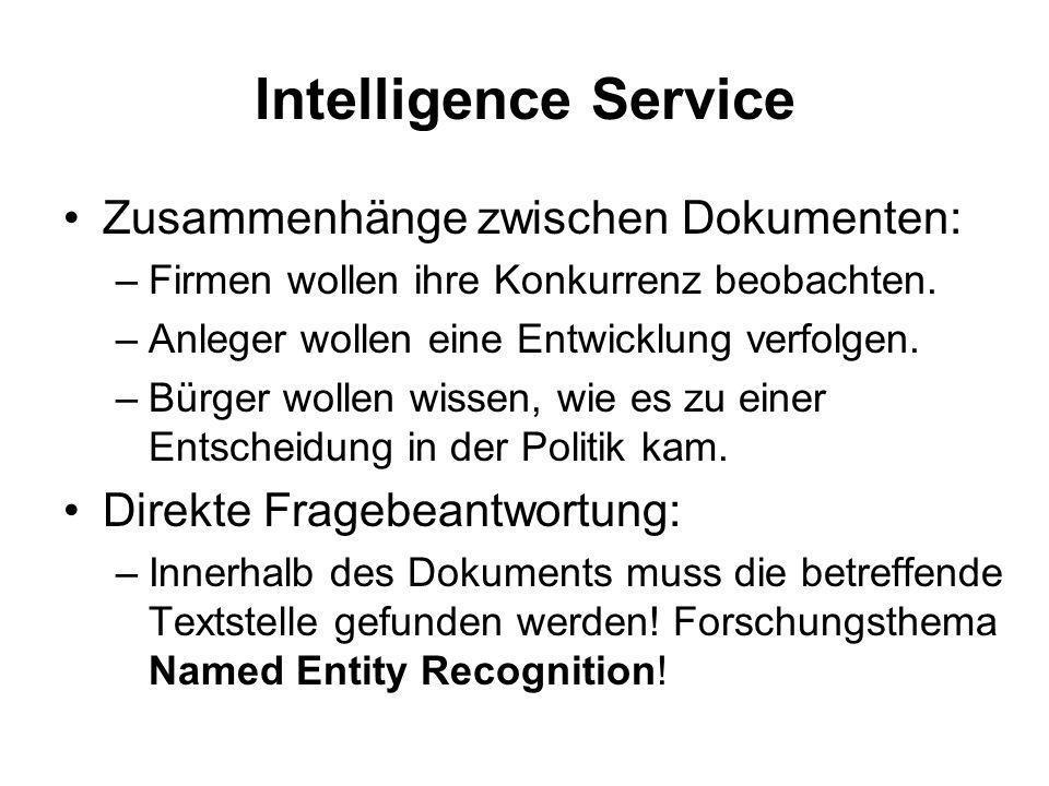 Informationen im Internet Suchmaschinen: –Es werden nur Dokumente geliefert, die den Suchbegriff enthalten. –Die Seiten sind von sehr unterschiedliche