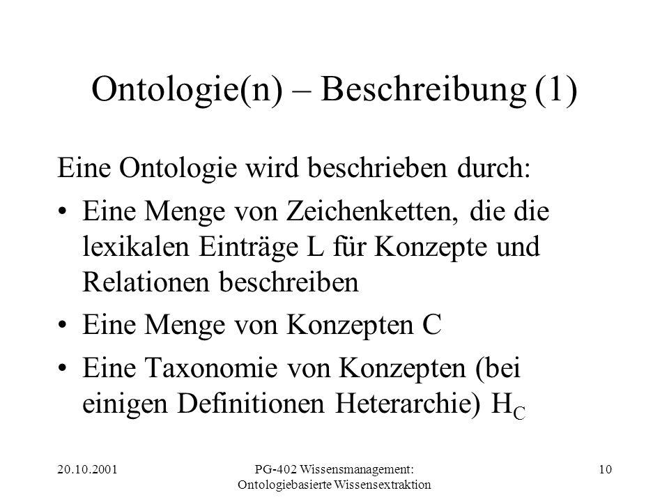 20.10.2001PG-402 Wissensmanagement: Ontologiebasierte Wissensextraktion 10 Ontologie(n) – Beschreibung (1) Eine Ontologie wird beschrieben durch: Eine