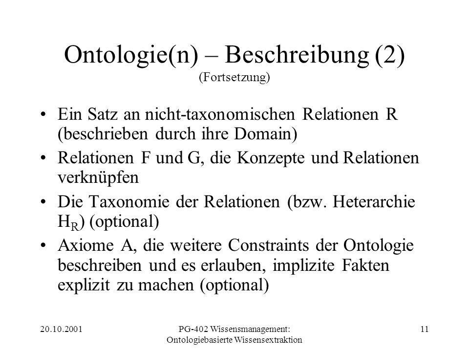 20.10.2001PG-402 Wissensmanagement: Ontologiebasierte Wissensextraktion 11 Ontologie(n) – Beschreibung (2) (Fortsetzung) Ein Satz an nicht-taxonomisch