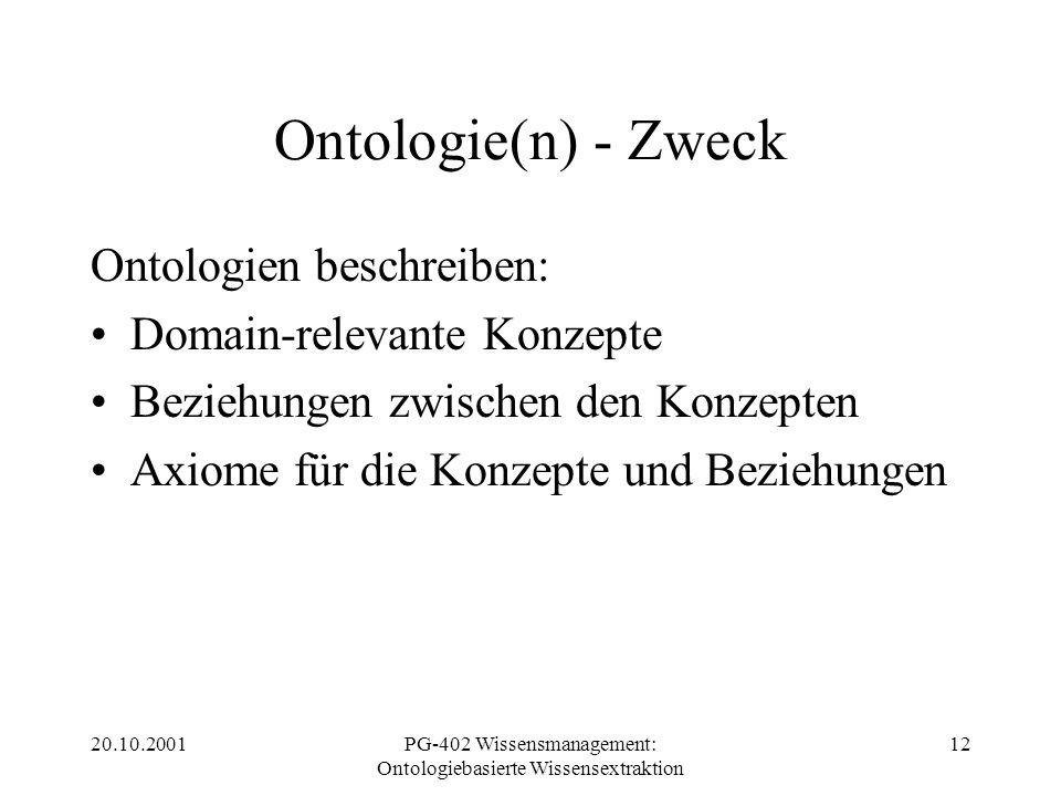 20.10.2001PG-402 Wissensmanagement: Ontologiebasierte Wissensextraktion 12 Ontologie(n) - Zweck Ontologien beschreiben: Domain-relevante Konzepte Bezi