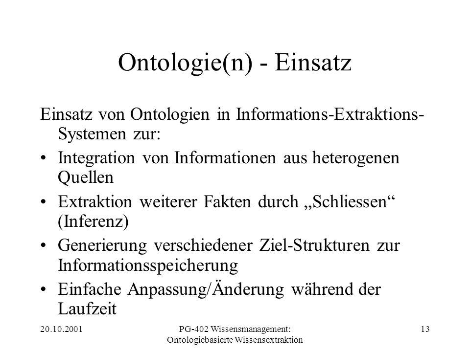 20.10.2001PG-402 Wissensmanagement: Ontologiebasierte Wissensextraktion 13 Ontologie(n) - Einsatz Einsatz von Ontologien in Informations-Extraktions-