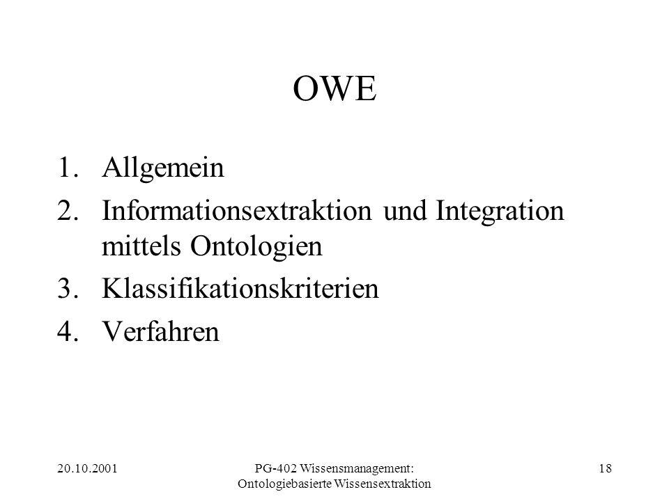 20.10.2001PG-402 Wissensmanagement: Ontologiebasierte Wissensextraktion 18 OWE 1.Allgemein 2.Informationsextraktion und Integration mittels Ontologien