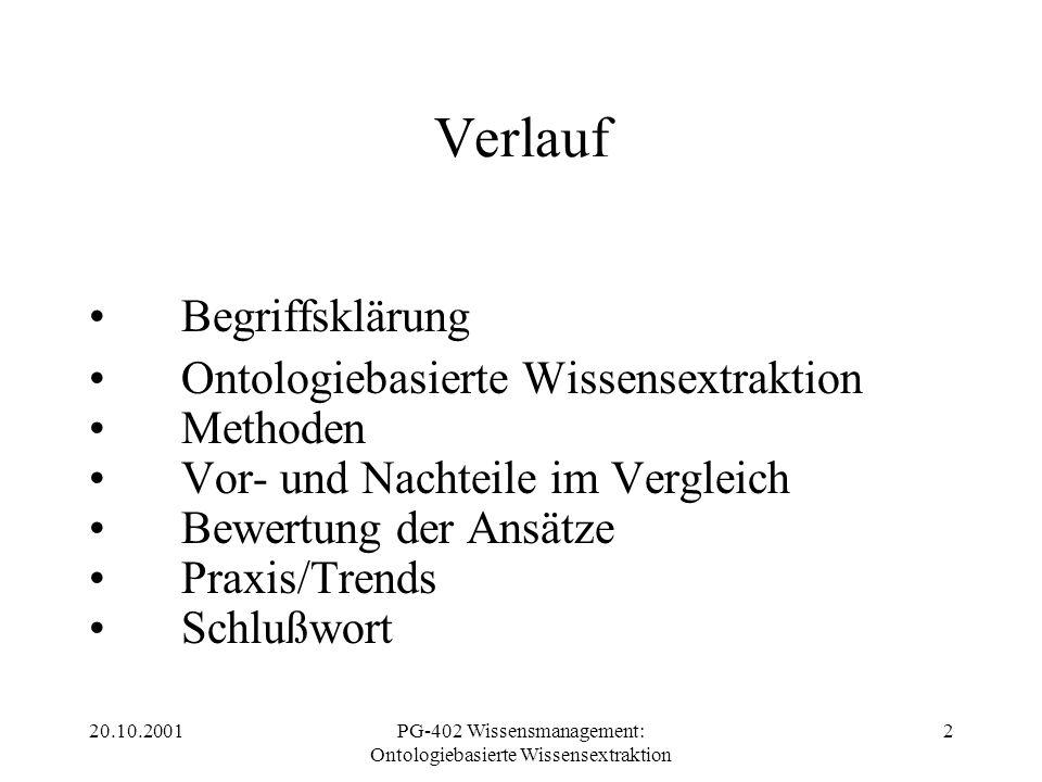 20.10.2001PG-402 Wissensmanagement: Ontologiebasierte Wissensextraktion 2 Verlauf Begriffsklärung Ontologiebasierte Wissensextraktion Methoden Vor- un