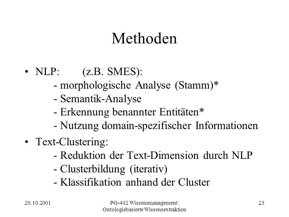 20.10.2001PG-402 Wissensmanagement: Ontologiebasierte Wissensextraktion 23 Methoden NLP:(z.B. SMES): - morphologische Analyse (Stamm)* - Semantik-Anal