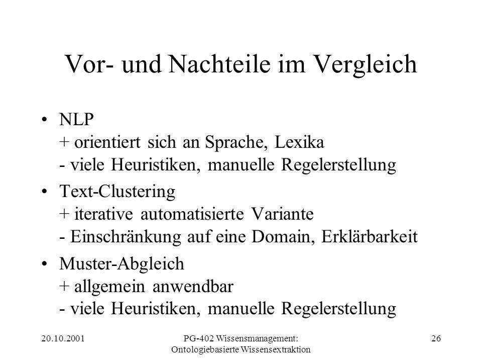 20.10.2001PG-402 Wissensmanagement: Ontologiebasierte Wissensextraktion 26 Vor- und Nachteile im Vergleich NLP + orientiert sich an Sprache, Lexika -