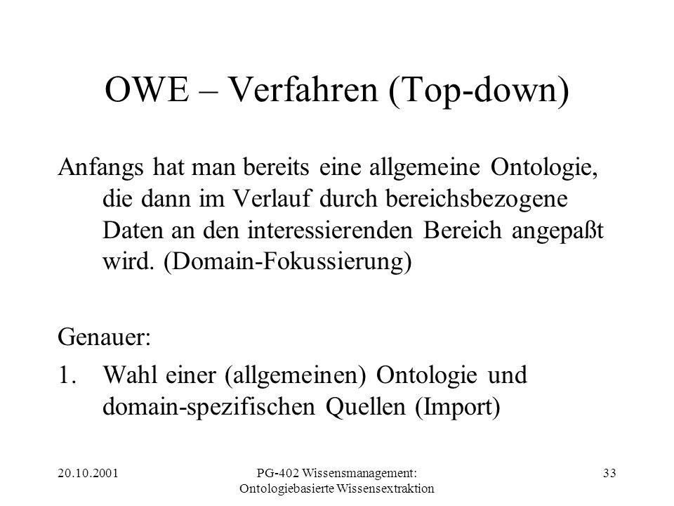 20.10.2001PG-402 Wissensmanagement: Ontologiebasierte Wissensextraktion 33 OWE – Verfahren (Top-down) Anfangs hat man bereits eine allgemeine Ontologi