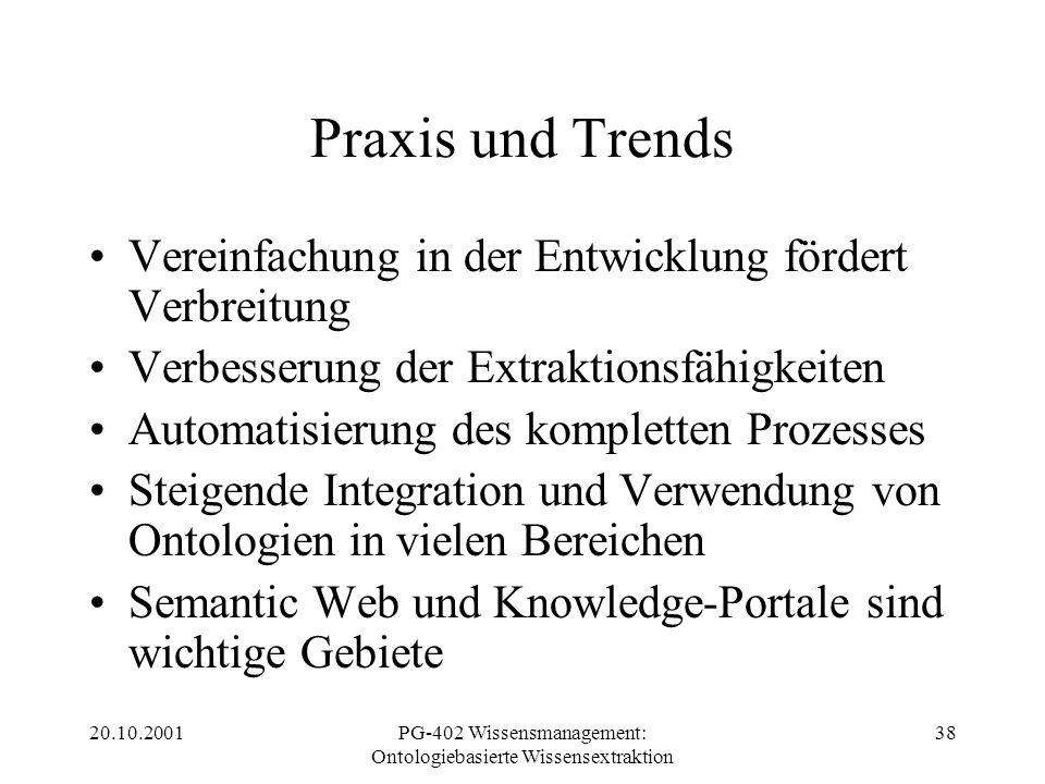 20.10.2001PG-402 Wissensmanagement: Ontologiebasierte Wissensextraktion 38 Praxis und Trends Vereinfachung in der Entwicklung fördert Verbreitung Verb