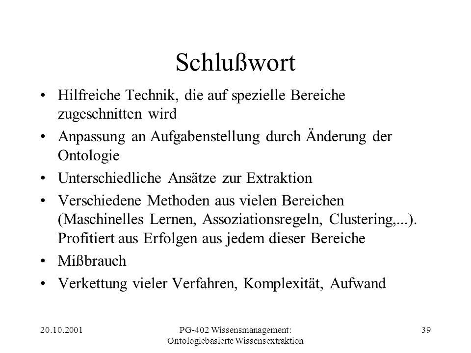 20.10.2001PG-402 Wissensmanagement: Ontologiebasierte Wissensextraktion 39 Schlußwort Hilfreiche Technik, die auf spezielle Bereiche zugeschnitten wir