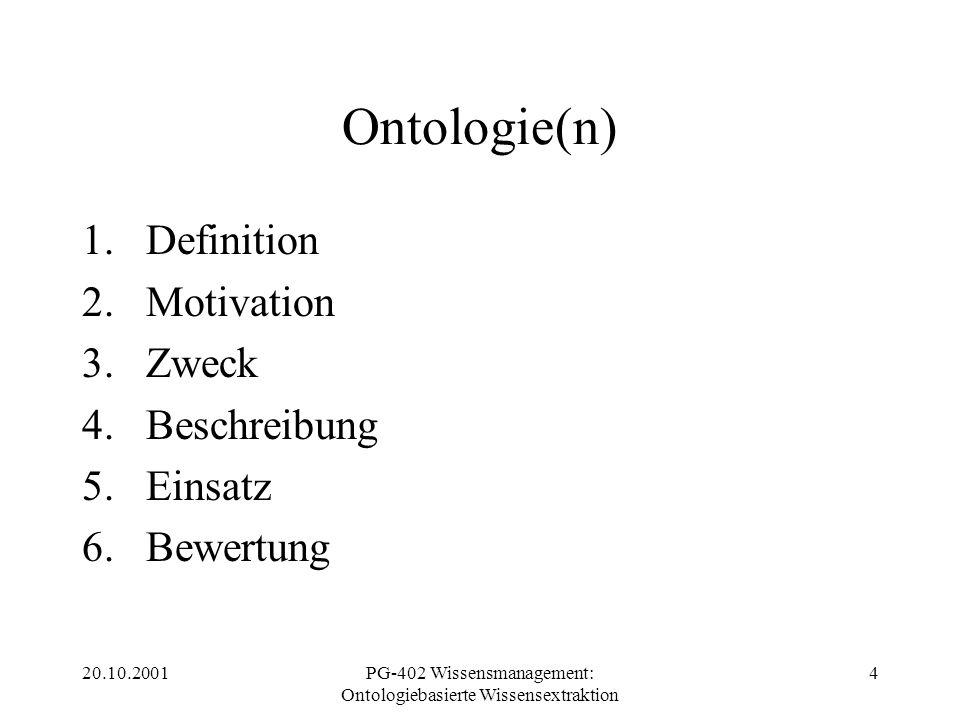 20.10.2001PG-402 Wissensmanagement: Ontologiebasierte Wissensextraktion 4 Ontologie(n) 1.Definition 2.Motivation 3.Zweck 4.Beschreibung 5.Einsatz 6.Be