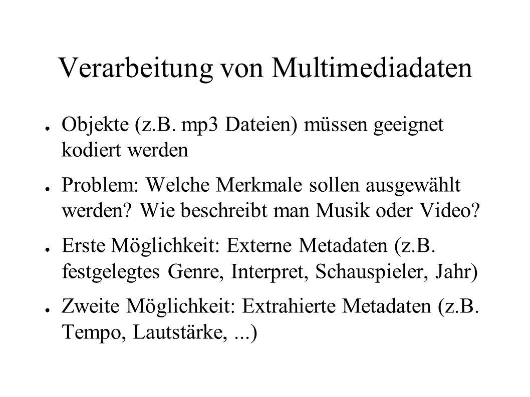 Verarbeitung von Multimediadaten Objekte (z.B. mp3 Dateien) müssen geeignet kodiert werden Problem: Welche Merkmale sollen ausgewählt werden? Wie besc