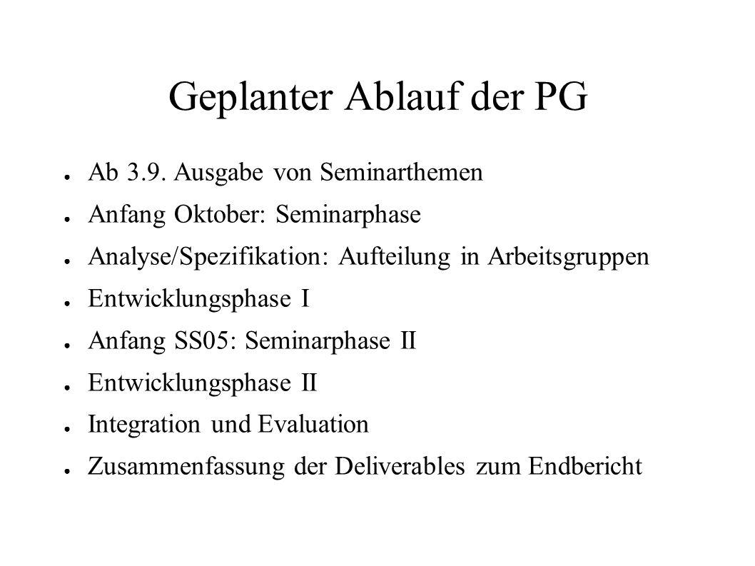 Geplanter Ablauf der PG Ab 3.9. Ausgabe von Seminarthemen Anfang Oktober: Seminarphase Analyse/Spezifikation: Aufteilung in Arbeitsgruppen Entwicklung