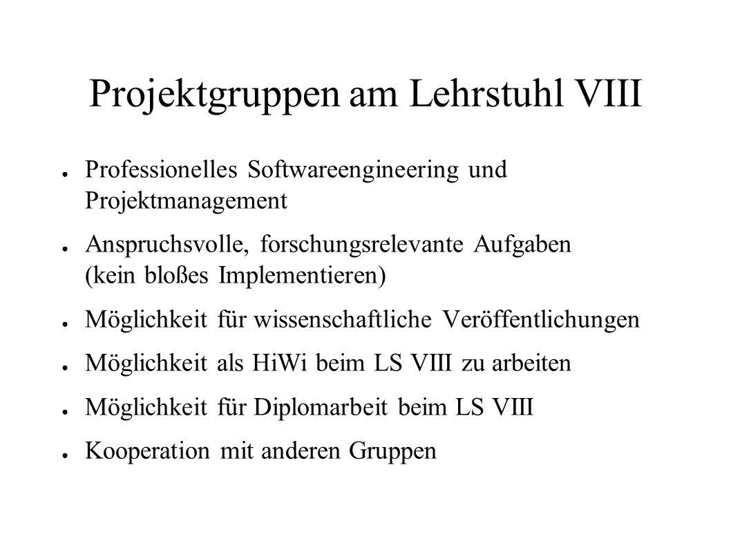 Projektgruppen am Lehrstuhl VIII Professionelles Softwareengineering und Projektmanagement Anspruchsvolle, forschungsrelevante Aufgaben (kein bloßes I